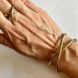 David Yurman 18K Gold 925 Crossover Bracelet Cuff